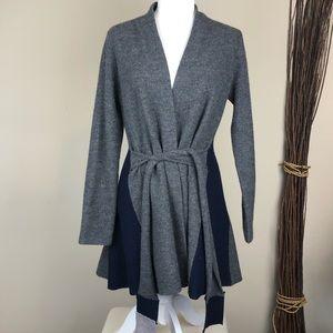 ROSIE NEIRRA   Wool Belted Cardigan Sweater Gray
